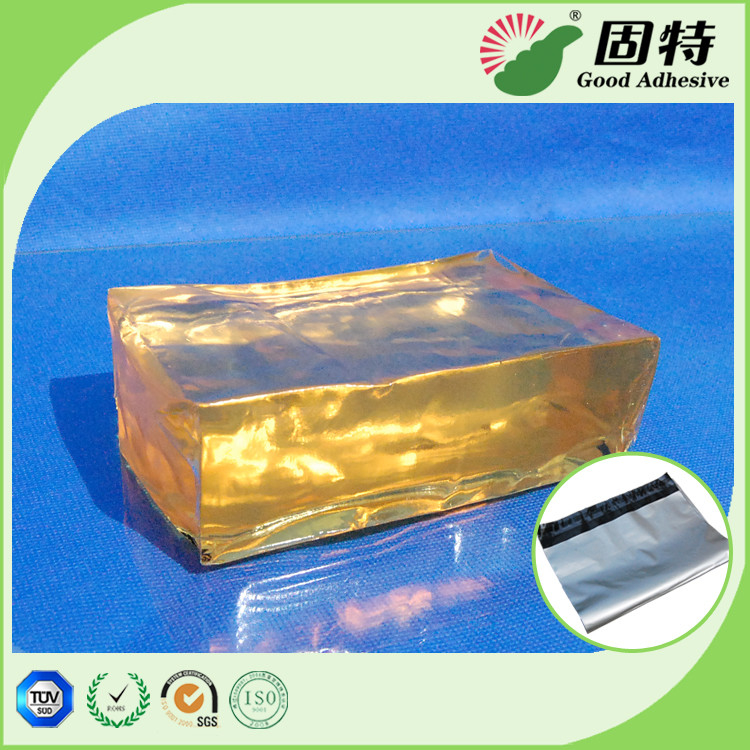 Yellow Block Pressure Sensistive Hot Melt Glues For Packaging Mail Bag Sealing