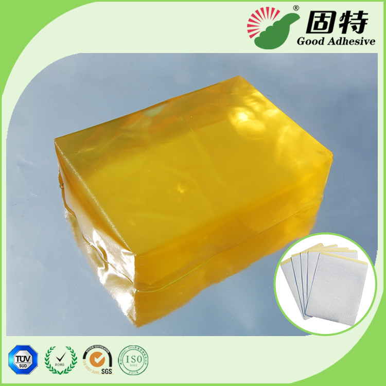 Medical Baby Diapers PSA Hot Melt Adhesive Yellow Transparent Block